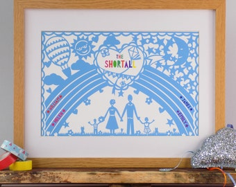 Family Rainbow Print - Personalised Rainbow Family Print - Custom Family Print - Rainbow Baby Art -  Family Gift - Rainbow Print Gift