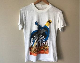 Vintage 70s/80s - BATMAN GOTHAM CITY - Big Print - White 50/50 T-Shirt - Medium