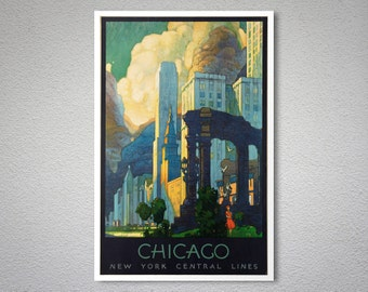 Chicago New York Central Lines Vintage Travel Poster, 1929 - Poster Print, Sticker or Canvas Print / Gift Idea