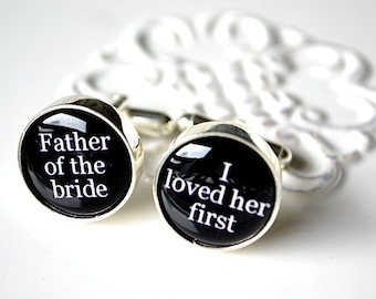 I loved her first cufflinks - Father of the bride - stainless steel cufflinks by White Truffle Studio