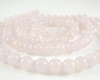 Rose Quartz Necklace Long Rose Quartz Gemstone Necklace Pale Pink Rose Quartz Strand Light Pink Beaded Necklace Long Rose Quartz Necklace