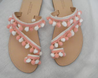 White peach pom poms sandals, Strappy leather shoes, Boho summer flats, Greek leather sandals, Greek made shoes, Elegant shoes, Gift for her