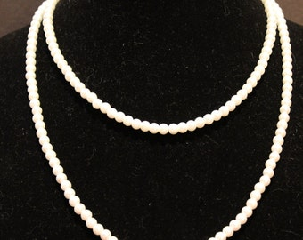 Elegant Single Strand Ivory Pearl Extra Long Necklace with Silver Magnetic Closure