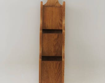 Vintage Oak Wood Wall Mount Mail Organizer Sorter