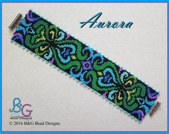 AURORA Peyote Cuff Bracelet Pattern