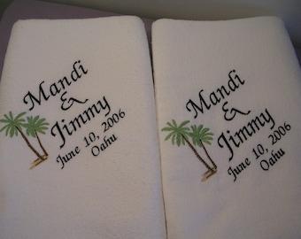 2 Wedding BeachTowels for Bride and Groom Towels Wedding Gift Honeymoon Gift Bridal Shower Gift Destination Wedding