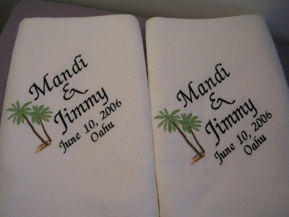 Destination Wedding Gift Ideas For Bride And Groom: Items Similar To 2 Wedding BeachTowels For Bride And Groom