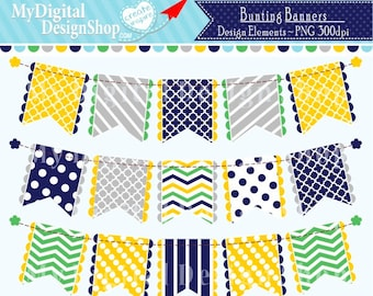 On SALE, Yellow Blue Bunting Banner Clip Art Clipart Set Patterned Flag Polka Dot Chevron Personal & Commercial Download