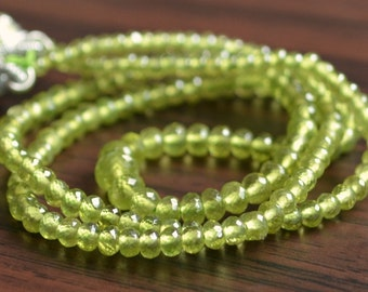 Vesuvianite Rondelles, AAA Gemstone Beads, Green Semiprecious Stone Roundels, Small, 2mm - 3mm, 7 inch strand