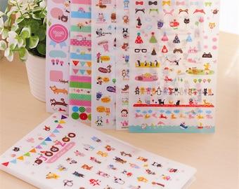 JooZoo kawaii sticker set (8 sheets) for holidays reminder, travel shopping ideal day planner letter scrapbook #Lillibon
