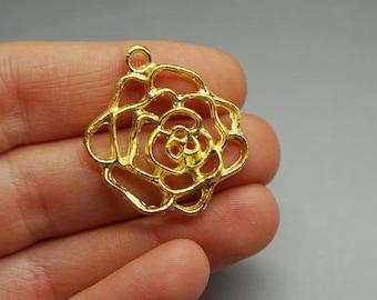 SET of 3 pink rose flower charm gold gilt (S23)