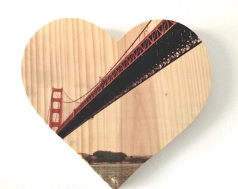 "Sailor's View: Golden Gate Bridge - 9x8"" Heart Distressed Photo Transfer on Wood"
