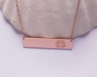 Initial Monogram Bar Necklace Rose Gold,Monogram Bar Charm,Wording Bar Necklace,Lettering Bar Nekclace,Nameplate Bar Necklace