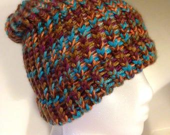 Multi Colored Crochet Winter Hat Toboggan Handmade Slouch Hat