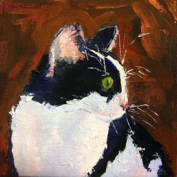 Small Painting, Animal Painting, Cat Painting, Small Art