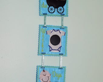 Countdown to Baby's birth, Arrival, wall/door hanger, chalk board, felt.