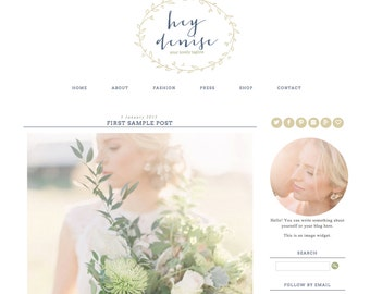 Blogger Template Premade Blog Theme Design Hey Denise - Instant Digital Download, Rustic, Wreath