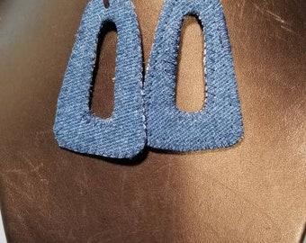 Denim Leather Earrings