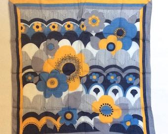 Vintage 1960s Light Cotton Mod Floral Yellow Blue Graphic Bandana
