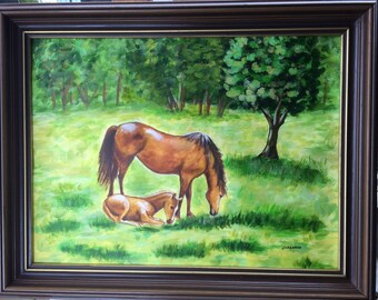 Horse art, Farm animals, Mare and Colt, Landscape painting, Wall decor