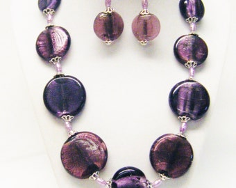 "20"" Chunky Purple Disc Glass Beaded Necklace & Earrings Set"