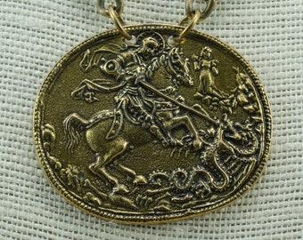 Vintage Alva Museum Replica Golden Chain Necklace Dragon Pendant Vintage Jewelry