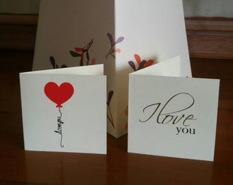Set of 6 Mini cards - I love you - blank card - Love - small card - note card - anniversary - Birthday- Love you - Love note - romantic note