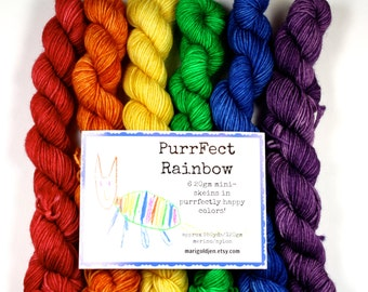 PurrFect Rainbow Mini Skein set--hand dyed sock yarn, merino and nylon, (463yds/100gm)
