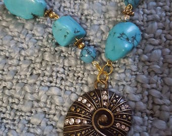 Turquoise and Shell pendant necklace
