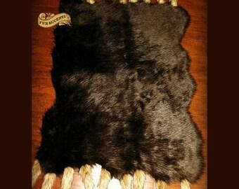 Plush Faux Fur Random Pelt Area Rug w/Fox Tail - Luxury Fur Soft Shaggy Bear Skin - Pelt - Sheepskin - Designer Throw Rug - Fur Accents USA