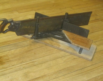 SALE!!  Antique Miter Saw ,Disston Back Saw , Millers Falls Miter Box , 1896 - 1917 Disston Saw