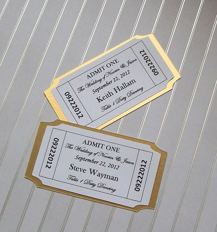 Movie Ticket Place Card Escort Card Customized