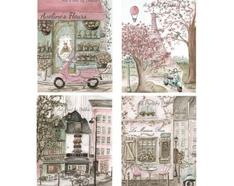 Shabby Chic Paris Bedroom Decor, Personalized Set Of 4 Watercolor Painting Prints, Paris Travel Theme Baby Girl Nursery, Shower Gift Idea