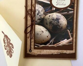 Birthday Handmade Birds Eggs Best Wishes Card
