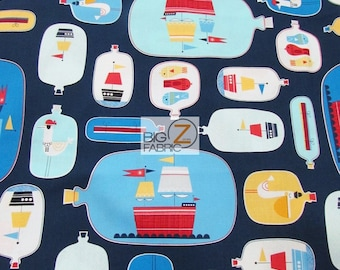 Messages In A Bottle Navy By Robert Kaufman 100% Cotton Fabric By The Yard (FH-3353) Clothing Decor Garments Licensed