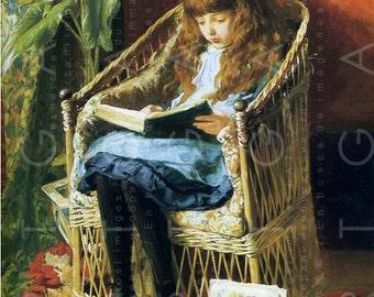 Little GIRL READING A BOOK Antique Pre Raphaelite Painting. Superb Vintage Reading Illustration Digital Download.