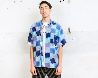 Vintage Geomteric Print Shirt . Men Shirt Short Sleeve Checked Print Shirt Patterned 90s Shirt Vacation Shirt . size Large L