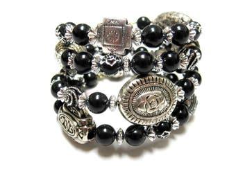 Western Bracelet Wrap Around Cuff Black Silver Concho