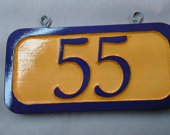 Custom wooden carved  House Number sign or house number plaque  (cHouseN_55a).