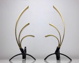 Pair Donald Deskey Style Brass Andirons, 1950's