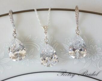 Crystal Bridal Earrings, Bridal Jewelry SET, Bridal Necklace, Wedding Jewelry Set, Pear Shaped Crystals, Crystal Jewelry Set,  Bridal Set