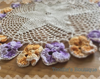 Vintage crocheted floral doilie