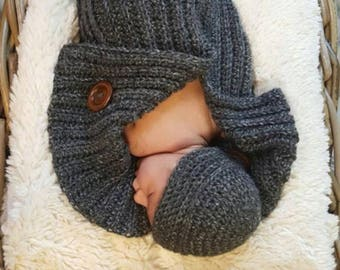 0-3 Months Gray Tweed Cocoon and Hat
