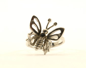 Vintage Butterfly 3D Ring 925 Sterling Silver RG 2820