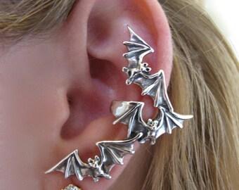Bat Ear Cuff Silver Bat Flock Ear Cuff Bat Earring Bat Jewelry Silver Bat Non-Pierced Earring Gothic Jewelry Punk Jewelry Steampunk Jewelry