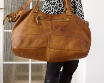 Washed Leather Bag, Washed Leather Travel Bag, Leather Weekender, Leather Bag, Leather Tote, Leather Handbag, Leather Carryall, antique tan