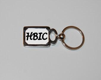 HBIC keychain, Head b*tch in charge, boss lady, boss keychain, im the boss, silver keychain, rude, sarcasm, funny keychain, b*tch