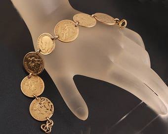 Gold Plated 1920s French Franc Coin Link Bracelet