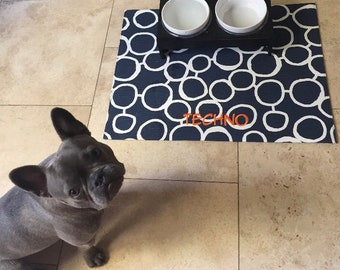 Personalized Pet Placemat, Navy Dog Placemat with Circles, Personalized Pet Placemat, Dog Food + Water Bowl Mat