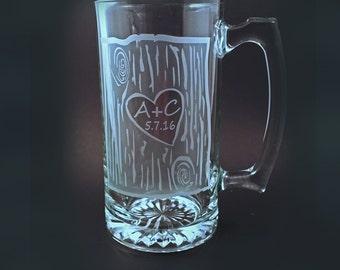 Chopes à bière personnalisés gravés personnalisés, lot de 2 chopes à bière rustique, chopes à bière homme des cavernes, des pères, mariage Mugs